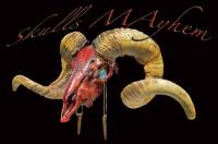 Red Gold And Black Illuminating Texas Dahl Ram Skull Lamp ...