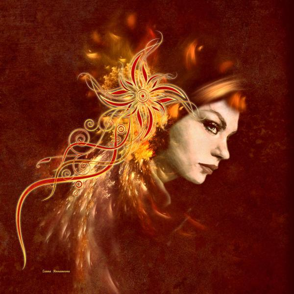 Red Headed Woman Abstract Realism Digital Art Georgiana