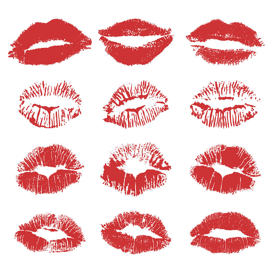 red lipstick kiss on