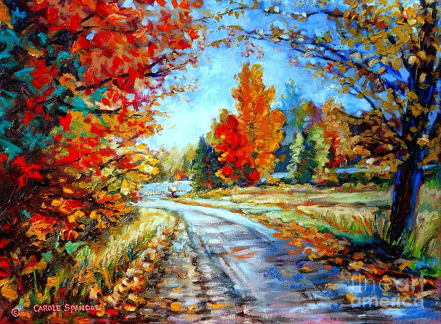 New England Fall Phone Wallpaper Red Maples Autumn Landscape Road Through Quebec Painting