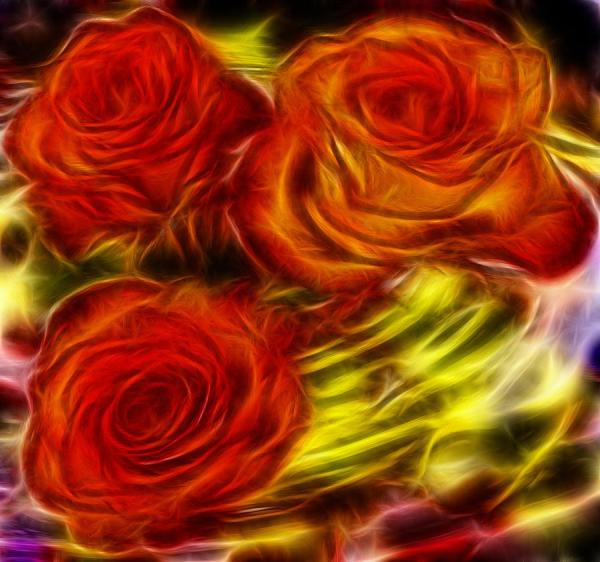 Red Roses In Water - Fractal Painting Lilia