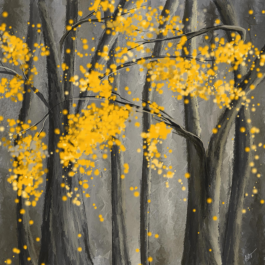 Rejuvenating Elements Yellow And Gray Art Painting by