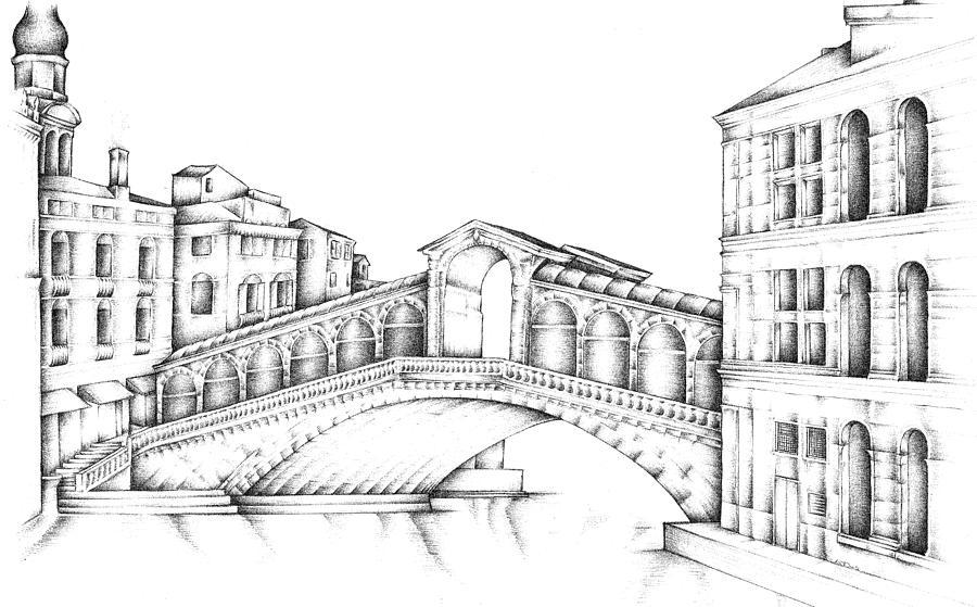 Rialto Bridge Venice Italy Drawing by Steven Davis