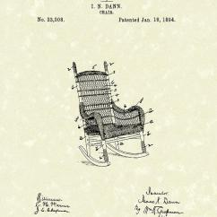 Chair Design Patent Folding Step Stool Rocking 1894 Art Drawing By Prior Dann