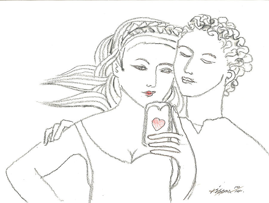 Romeo And Juliet Selfie Drawing by Kippax Williams