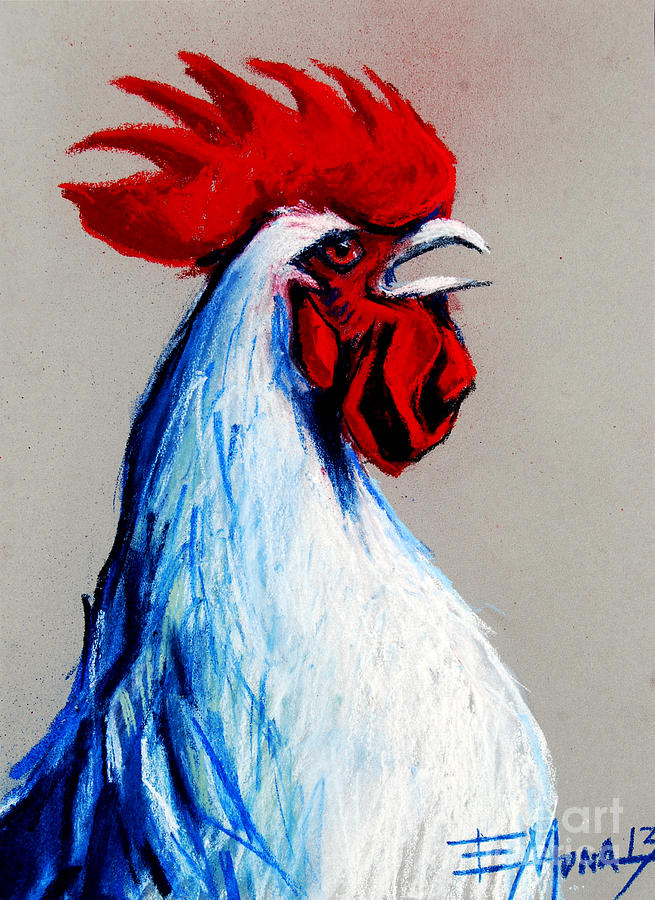 Rooster Head Painting by Mona Edulesco
