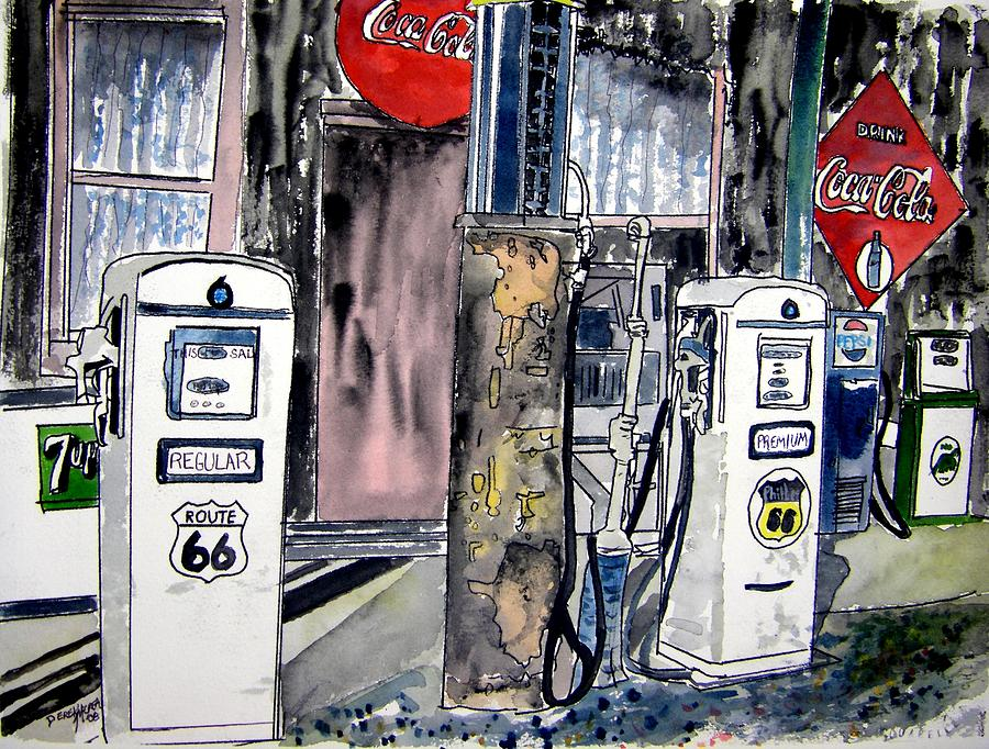 Route 66 Gas Station Painting By Derek Mccrea