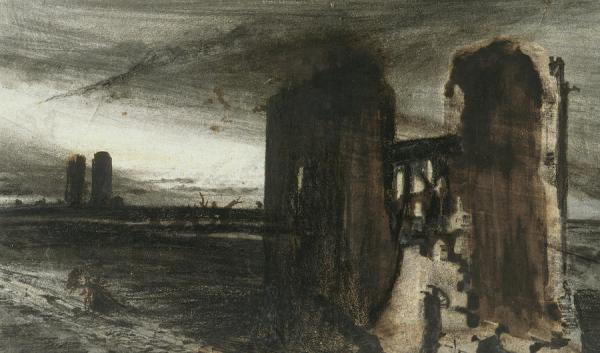 ruins in landscape painting