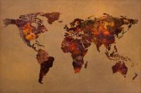 Rusty Vintage World Map On Old Metal Sheet Wall Mixed ...