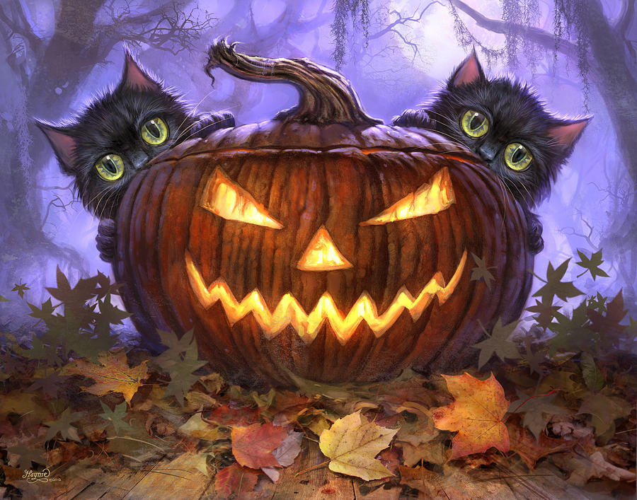 Pumpkin Fall Iphone Wallpaper Scaredy Cats Painting By Jeff Haynie