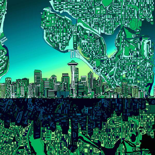 Seattle Skyline Abstract Art