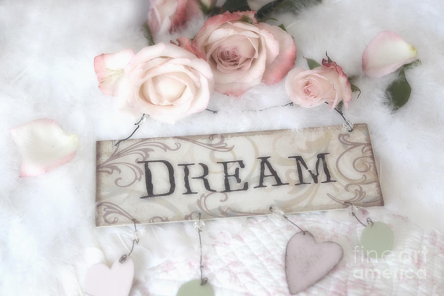 Shabby Chic Cottage Pink Roses With Dream Words