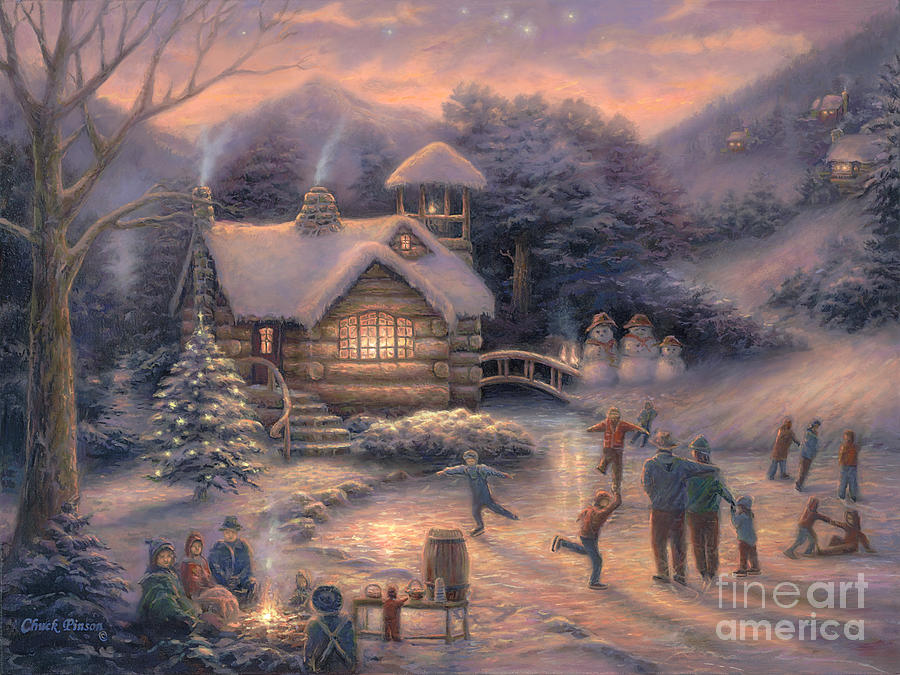 framed thomas kinkade christmas paintings