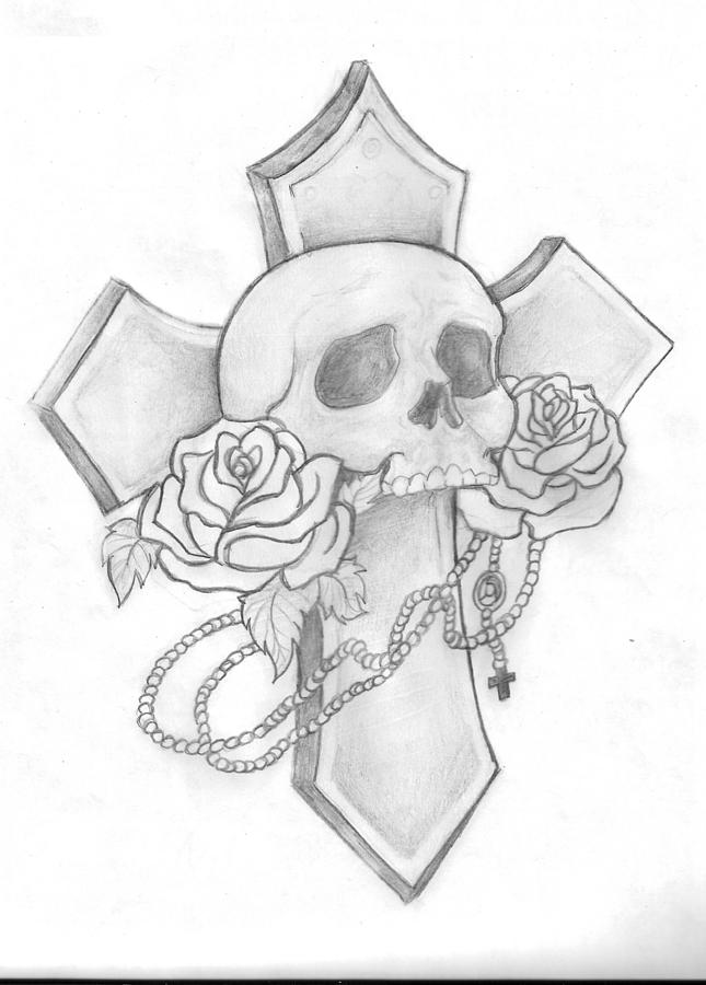 Emo Girl With Bandana Wallpaper Skull And Cross Tattoo Drawing By Leah Thornton