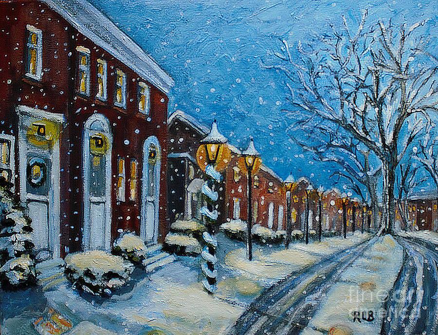 Snowy Evening In Garden Crest Painting By Rita Brown
