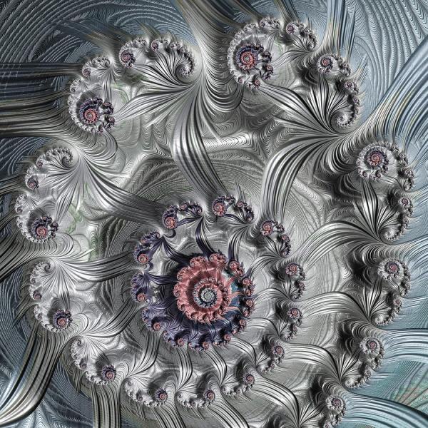 Square Format Abstract Fractal Spiral Art Digital