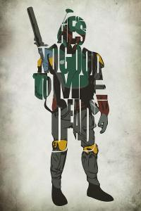 Star Wars Inspired Boba Fett Typography Artwork Painting