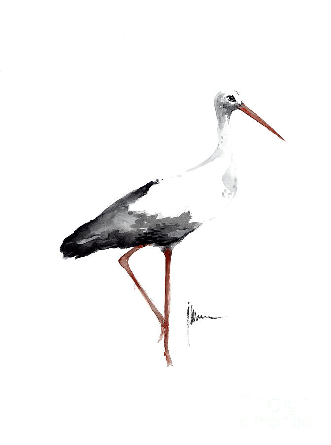 Stork Watercolor Art Print Painting Birds Ideas Large