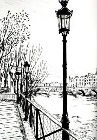 Street Lamps In Paris Drawing by Janice Best