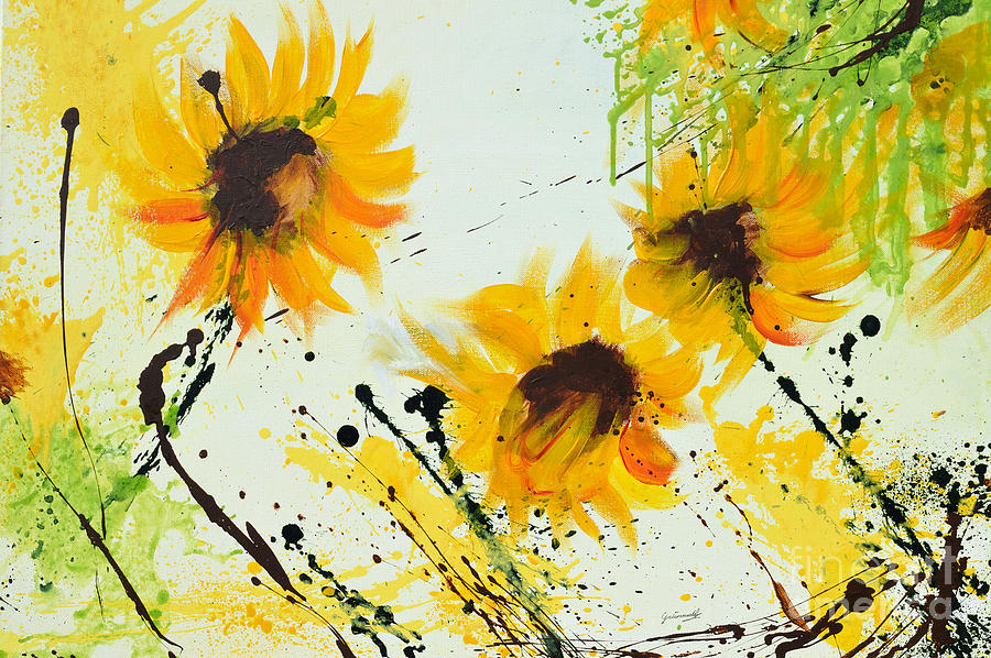 sunflowers abstract painting by