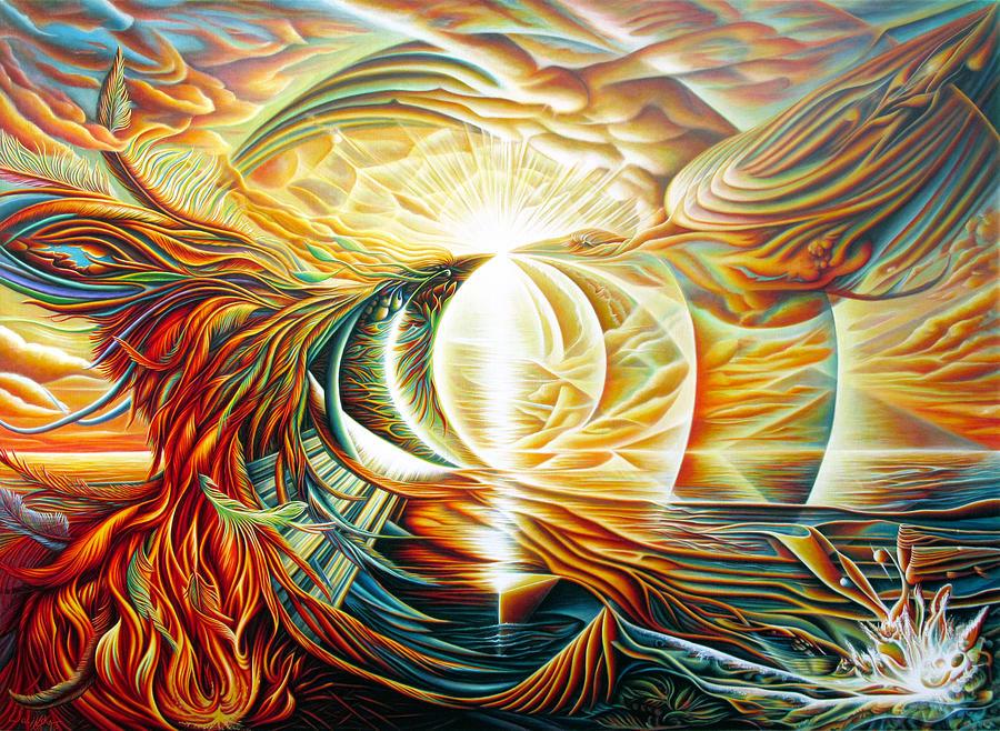 Sunrise Phoenix Painting by Nad Wolinska