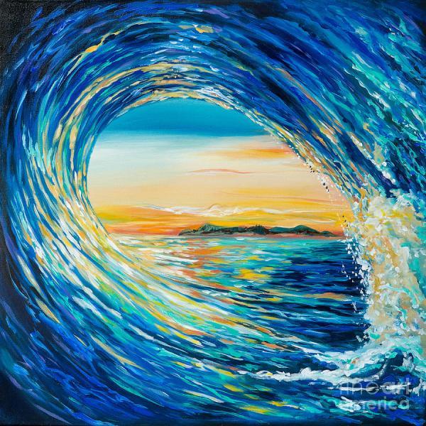 Waves Sunset Painting Acrylic