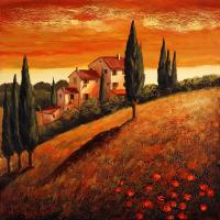 Sunset Over Tuscany 1 Painting by Santo De Vita