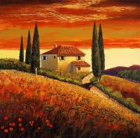sunset over Tuscany 2 Painting by Santo De Vita