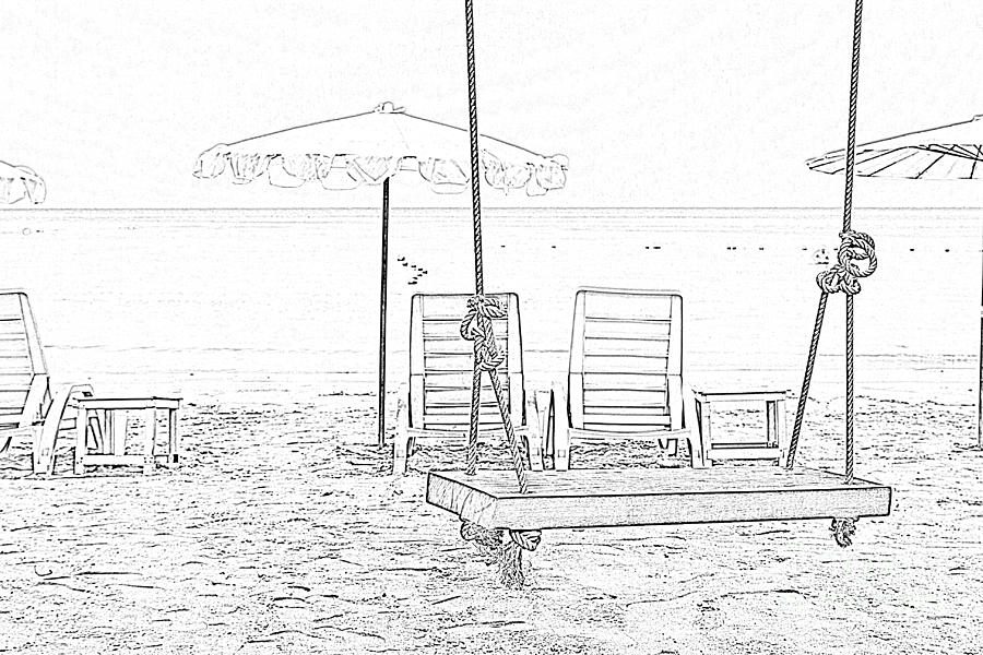 swing chair drawing rattan indoor and beach by kan pongsura