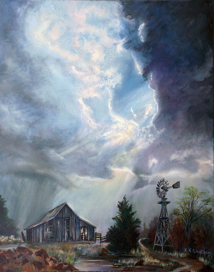 Texas Thunderstorm Painting by Karen Kennedy Chatham