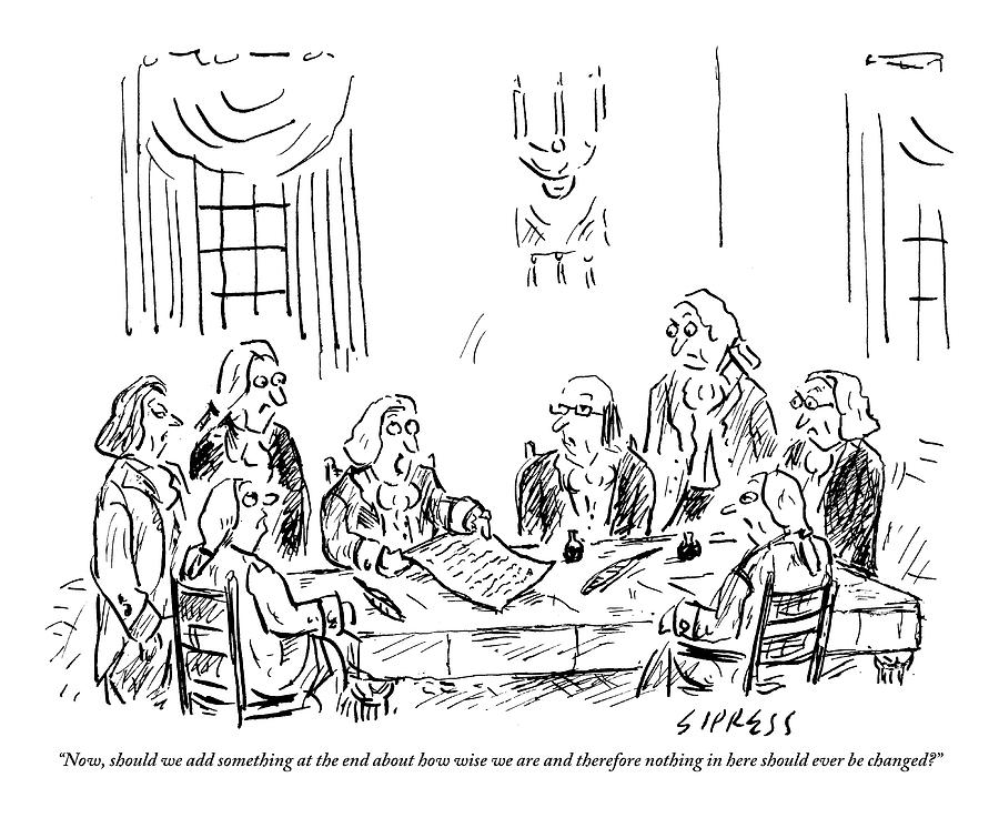 The Founding Fathers Sit Around The Constitution by David