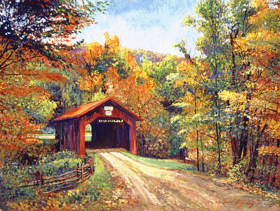 New England Fall Phone Wallpaper The Red Covered Bridge Painting By David Lloyd Glover