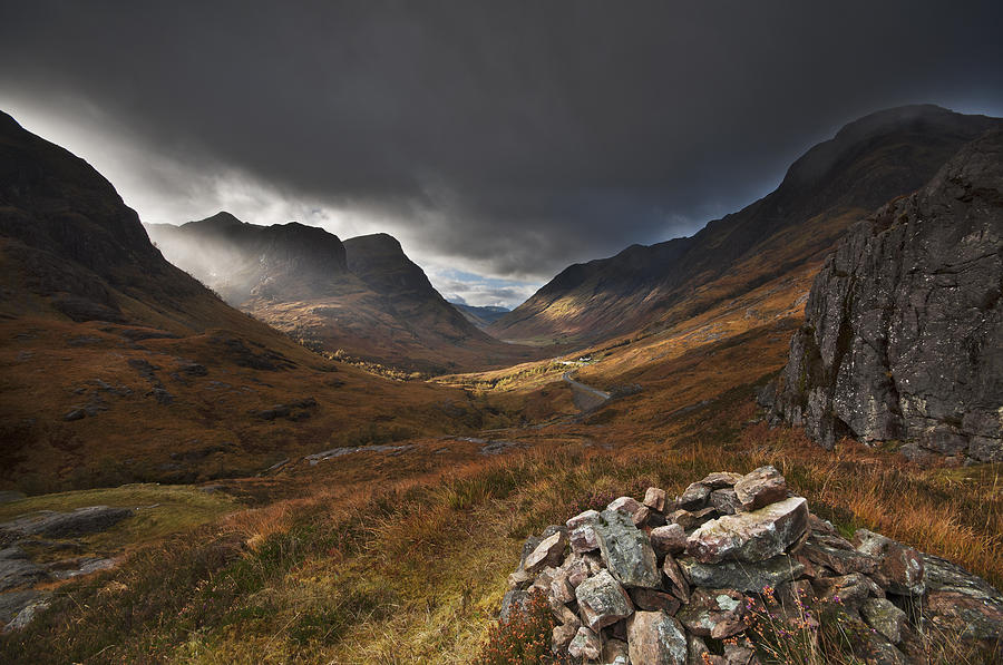 The Three Sisters Autumn Glow At Glencoe Photograph by