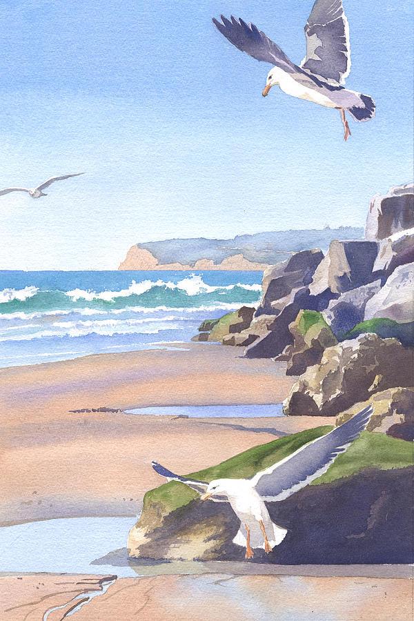 Three Seagulls At Coronado Beach Painting By Mary Helmreich