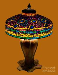 Tiffany Peacock Lamp Glass Art by David Kennedy