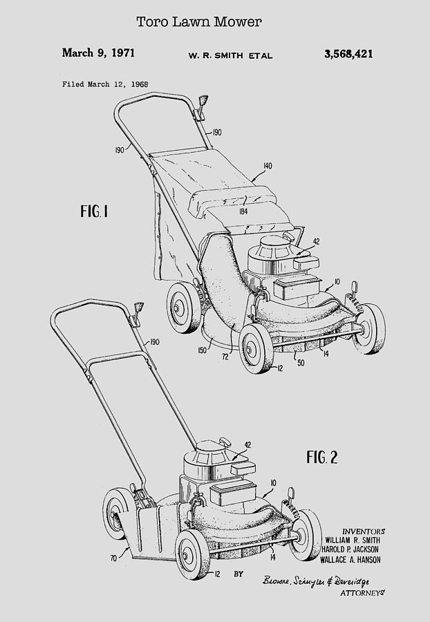 Toro Lawn Mower Patent 1971 Drawing by Mountain Dreams