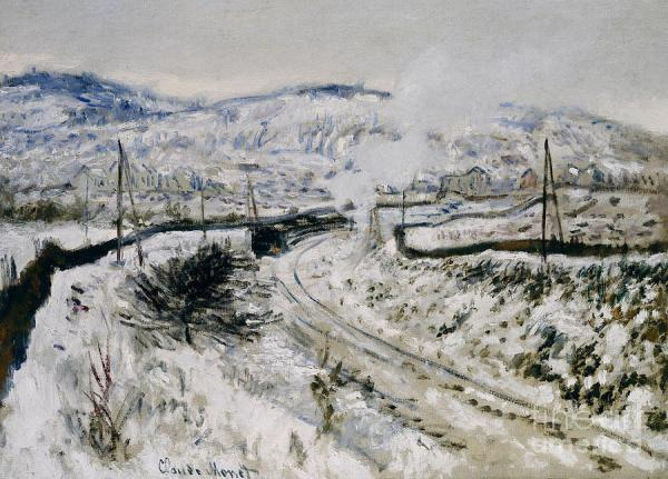 Train In The Snow At Argenteuil Painting by Claude Monet