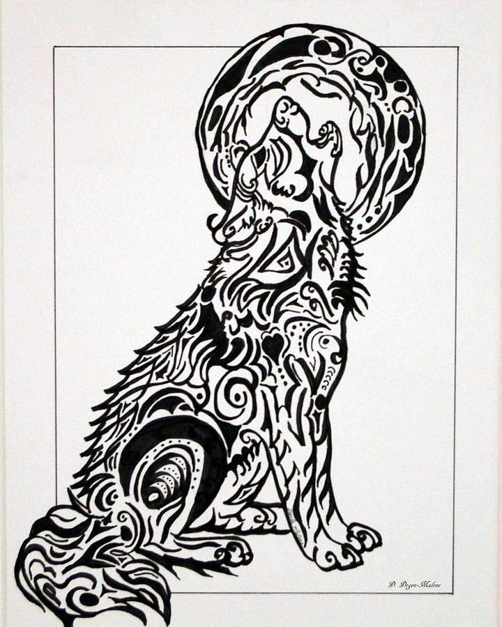 Tribal Wolf And Moon Drawing : tribal, drawing, Tribal, Drawing, Darla, Malone