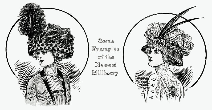 Two Edwardian Women Wearing Toques Hats Drawing by Mary