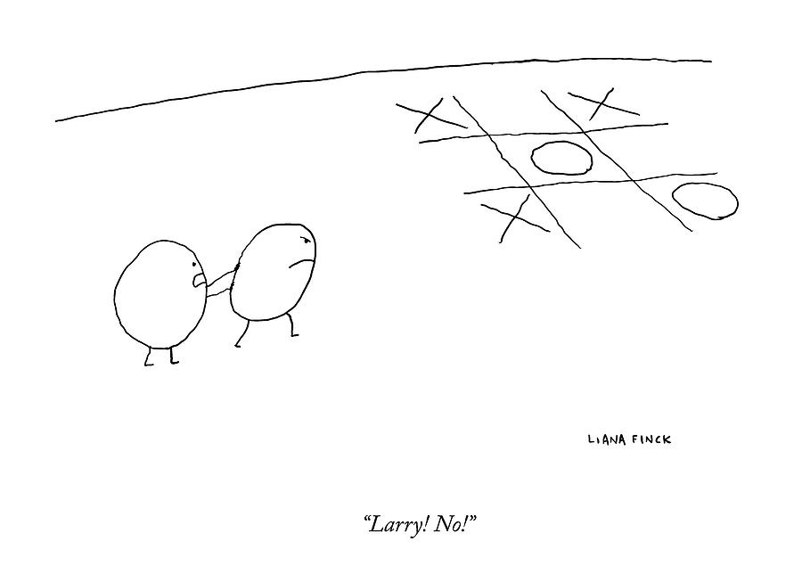 Two O-characters Stand By A Game Of Tic-tac-toe Drawing by