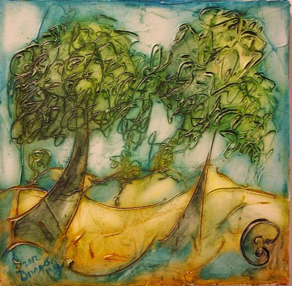 Two Trees Painting Ross Drago