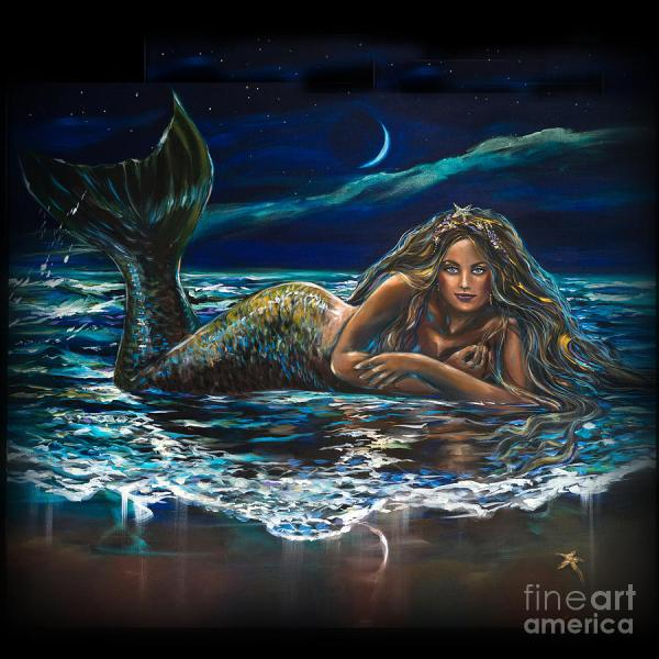 Under Crescent Moon Mermaid Pillow Painting Linda Olsen