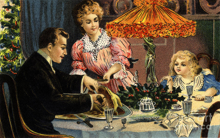 Victorian Christmas Family Meal Vintage Poster Digital