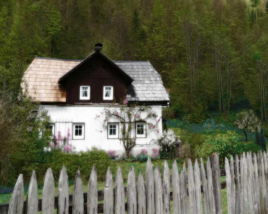 Vine Covered Cottage With Rustic Wooden Picket Fence