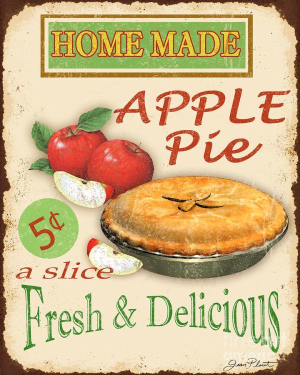 vintage apple pie sign digital