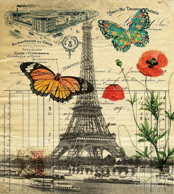 Vintage Paris Eiffel Tower Art