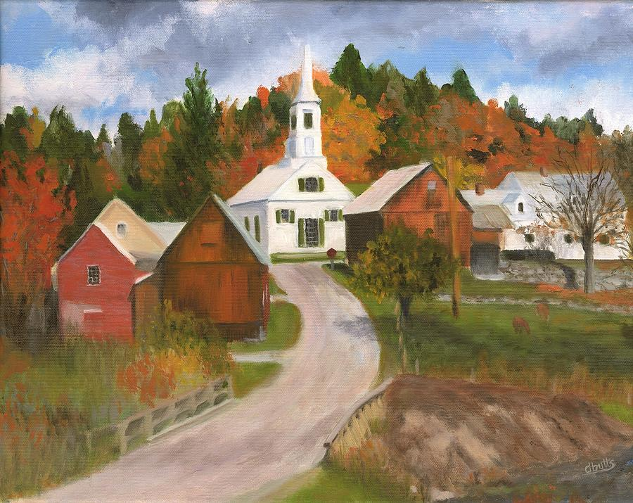 New England Fall Foliage Wallpaper Waits River Vt Painting By Deborah Butts