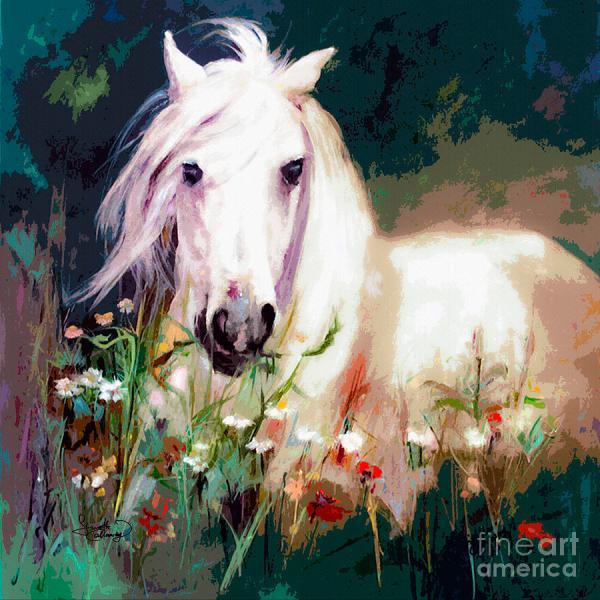 White Stallion Horse Painting