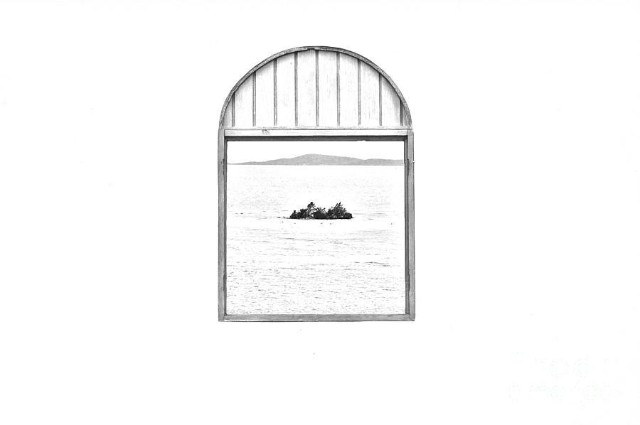 Window View Of Desert Island Puerto Rico Prints Black And