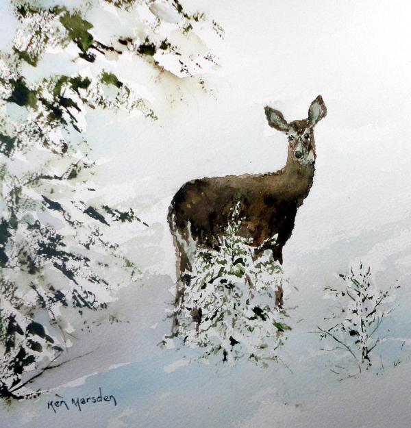 Winter Deer Painting Ken Marsden